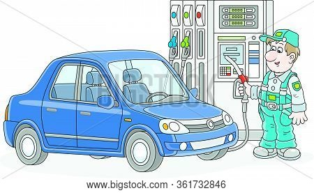 Car At A Gas Station With A Refueling Worker Holding A Fuel Nozzle Near A Dispenser, Vector Cartoon