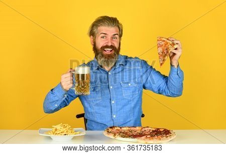 Pizzeria Restaurant. Cheerful Man Bearded Hipster Eat Pizza. Could Not Be Better. Pizza Party Concep