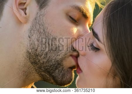 Softer Than Silk. Delicate Gorgeous Kiss. Man Kiss Woman. Couple In Love. I Love You. Closeup Mouths