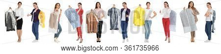 Collage Of Women Holding Hangers With Clothes On White Background. Dry-cleaning Service