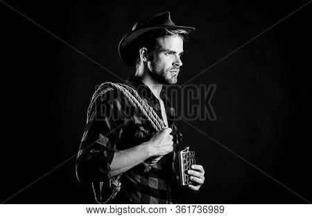 Tipsy Rider. Cowboy With Lasso Rope. Western. Western Cowboy Portrait. Man Checkered Shirt On Ranch.