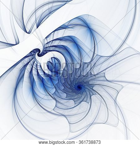 A Webbed Transparent Blue Spiral Unwinds On A White Background. 3d Rendering. Abstract Fractal Monoc