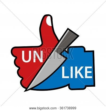 Unlike And Like With Thumbs Up Vector Concept. Flat Design. Vector Illustration On White Background