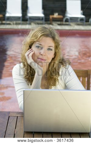 Young Woman With Laptop Computer