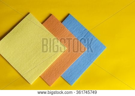 Kitchen Napkins For Cleaning On A Yellow Background.