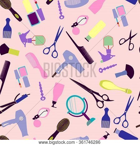 Vector Beauty And Barber Shop Background For Hair And Beauty Salon, Barber Shop. Fashion Woman Acces