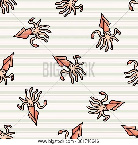 Cute Scattered Squid Cartoon Seamless Vector Pattern. Hand Drawn Ocean Life Tile. All Over Print For