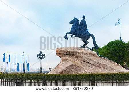 Peter First Or The Great Statue Bronze Horseman Equestrian In The Senate Square In Saint Petersburg,