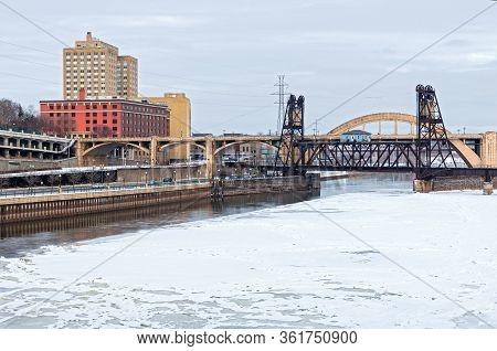 Icy Mississippi River And Robert Street Bridge In Saint Paul Minnesota