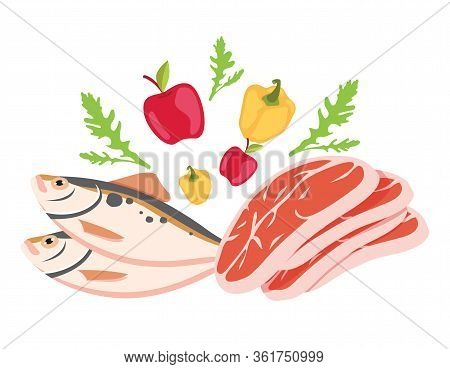 Paleo Diet Healthy Eating Concept. Products Seafood, Meat, Water And Vegetable And Fruits Poster Ban