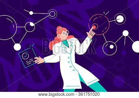 Female Scientist In Lab Coat Checking Artificial Neurons Connected Into Neural Network. Computationa