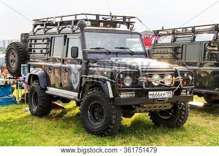 Moscow, Russia - July 6, 2012: Customized Offroad Vehicle Land Rover Defender Exhibited At The Annua