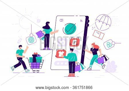 Composition With Crowd Of Crazy Customers Or Shopaholics Carrying Shopping Carts With Purchases, Bag