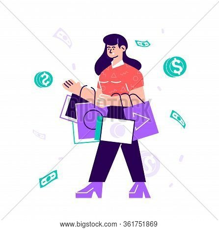 Funny Woman Carrying Bags With Purchases. Concept Of Shopping Addiction, Shopaholic Behavior. Mental