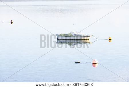 Small Boat Scene In Sea Water For Tranquility Calm Peace And Mindfulness