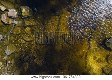 Shallow Water In A Fresh Water Creek With Rocks And Branches