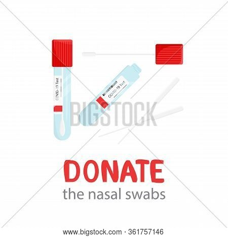 Vector Illustration Of Sterile Nasal Specimen Swabs That Accurate Influenza Testing Possible. Genomi