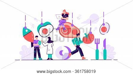 Keto Diet Vector Illustration. Flat Tiny Persons Concept With Low Carb Diet Chart. Healthy Ketogenic