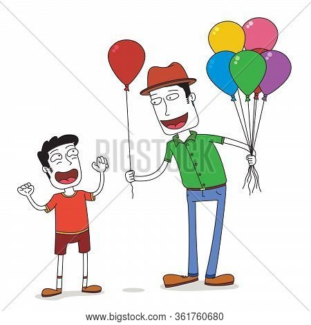Man Gives A Balloon To A Boy
