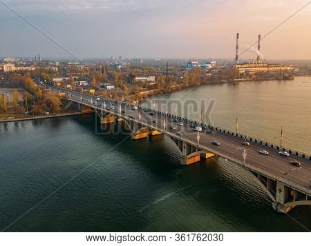 Evening Autumn Voronezh. Sunset Above Vogresovsky Bridge Over Voronezh River, Aerial View