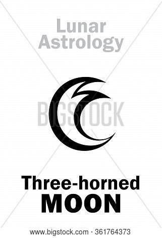 Astrology Alphabet: Three-horned Moon (luna Tricornis), Mystical Symbol Of Lunar Magic, Sorcery And