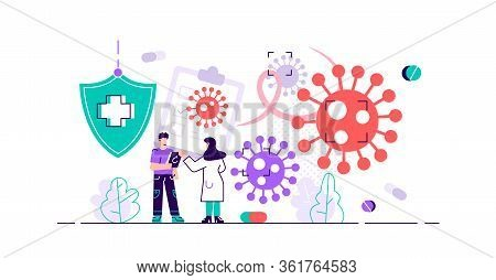 Oncology Vector Illustration. Flat Tiny Cancer Disease Research Persons Concept. Abstract Symbolic F