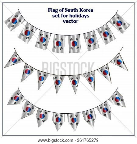 Set With Flags Of South Korea With Folds. Bright Collection With Flags Of South Korea. Vector Illust