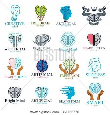 Brain And Intelligence Vector Icons Or Logos Concepts Set. Artificial Intelligence, Bright Mind, Bra
