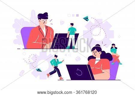 Business Concept Of Vector Illustration, Little People Links Of Mechanism, Business Mechanism, Abstr