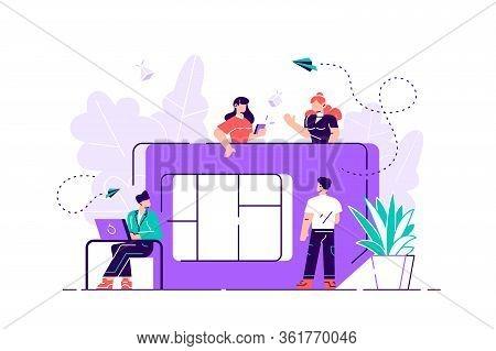 Mobile Sim Card, Microcircuit, Mobile Phone Communication Scheme. Flat Style Modern Design Vector Il