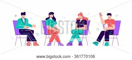 Men And Women Sitting On Chairs And Talking To Psychotherapist Or Psychologist. Group Therapy Sessio