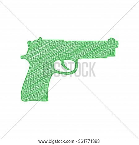 Gun Sign Illustration. Green Scribble Icon With Solid Contour On White Background. Illustration.