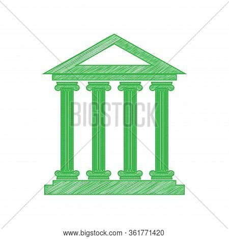 Historical Building Illustration. Green Scribble Icon With Solid Contour On White Background. Illust