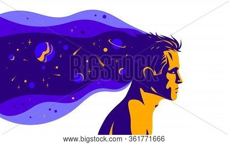 Man Profile With Space View Planets And Stars From His Head Vector Illustration, Mindfulness Philoso