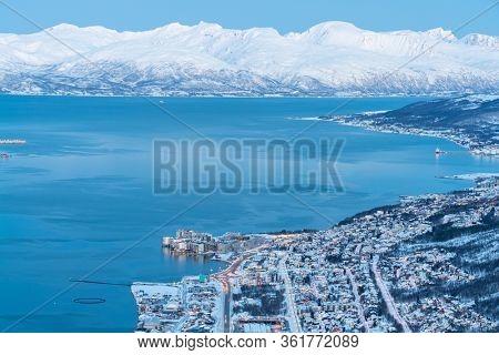 Aerial view on Tromso, Norway, Tromso At Winter Time, Norway