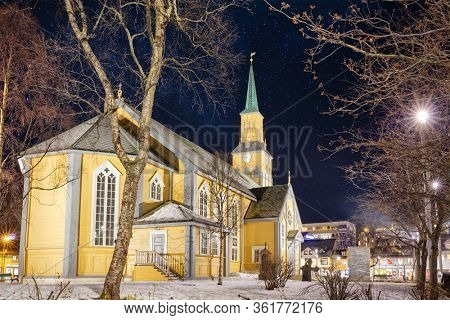 Tromso Cathedral At Starry Night, Winter Timew, center of  Tromso,  Norway