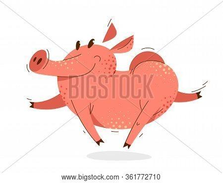 Funny Cartoon Pig Runs Happy And Hilarious Vector Illustration, Activity Happy Enjoying Animal Swine