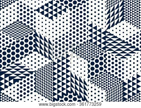 Seamless Dotted Cubes Vector Background, Dots And Triangles Boxes Repeating Tile Pattern, 3d Archite