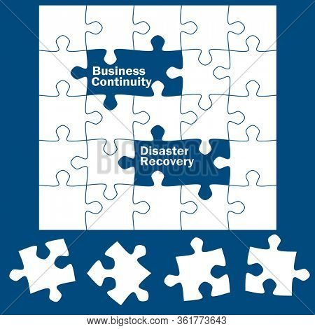 Business continuity and disaster recovery, written on blank puzzle