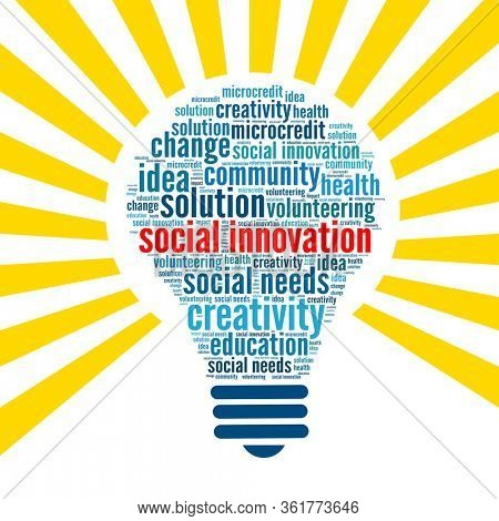 Social innovation concept in bulb shape word collage