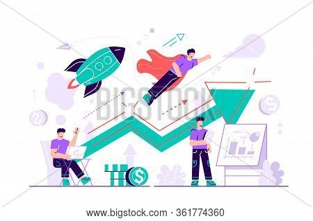 Businessman Working And Flying Like Superhero With Briefcase.start Up Launch, Start Up Venture And E