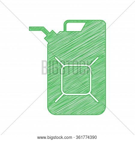 Jerrycan Oil Sign. Jerry Can Oil Sign. Green Scribble Icon With Solid Contour On White Background. I