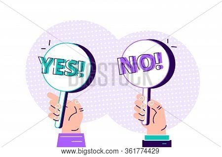 Cartoon Modern Of Yes No Banner In Human Hand On White Background. Test Question. Choice Hesitate, D
