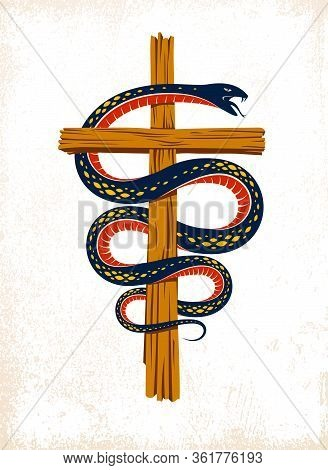 Serpent On A Cross Vintage Tattoo, Snake Wraps Around Christian Cross, God And Devil Allegory, The S