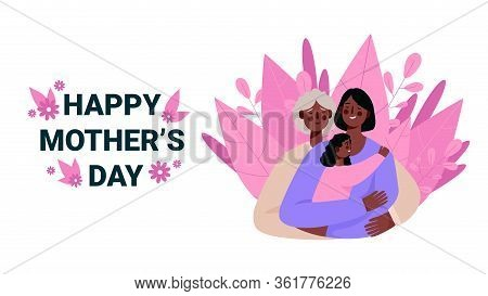 Mother, Daughter And Granddaughter. Senior Mother Hug Her Adult Daughter With Love. Mother Holding D