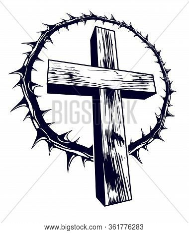 Christian Cross With Blackthorn Thorn Vector Religion Logo Or Tattoo, Passion Of The Christ.
