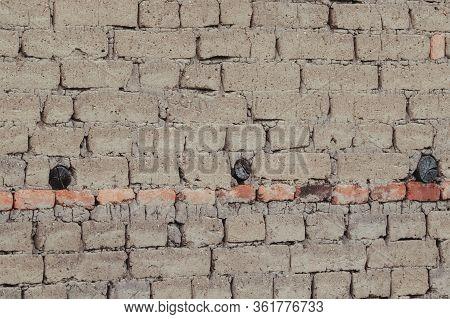 Adobe Background, Mud Bricks, Old Wall Brown