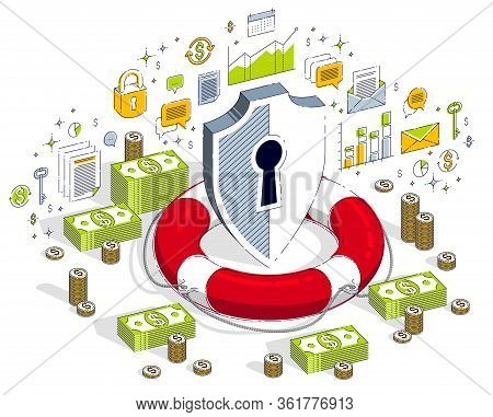 Financial Safety And Protection Concept, Life Buoy And Shield With Cash Money Stack And Coins Isolat