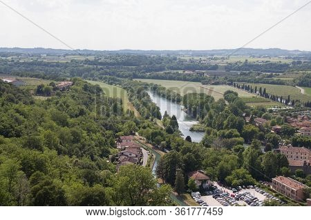 Panoramic View From Scaliger Castle On Mincio River, Veneto, Italy.