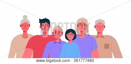 Big Happy Family Portrait. Father, Mother, Grandfather, Grandmother, Children . Vector Illustration